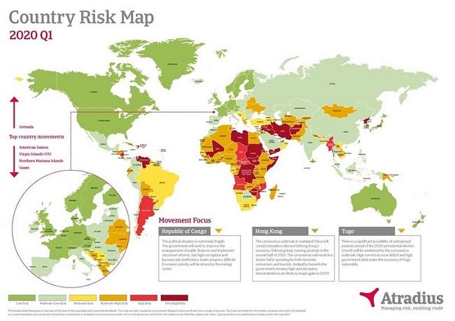 Carte des Risques Pays Atradius Q1 2020