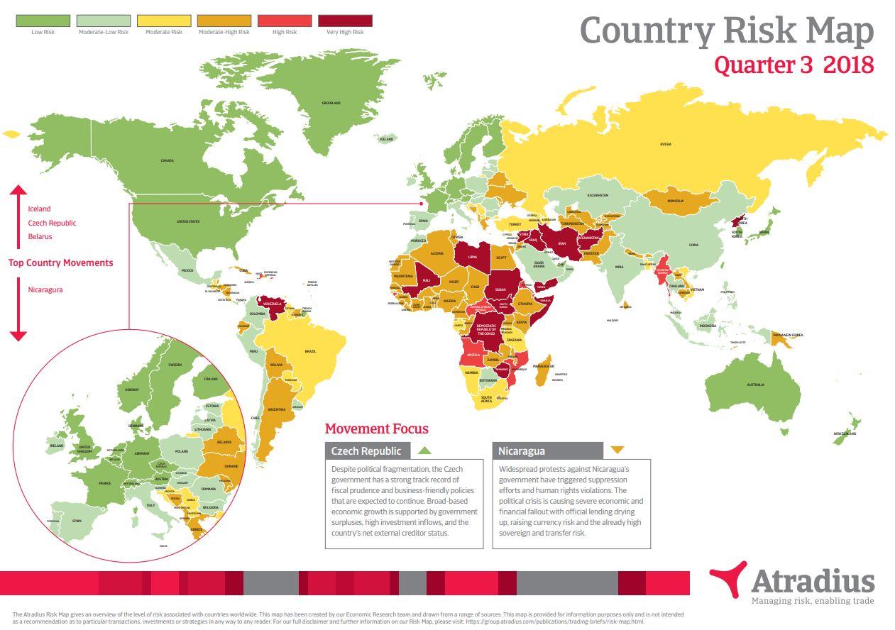 Carte des Risques Pays Atradius Q3 2018