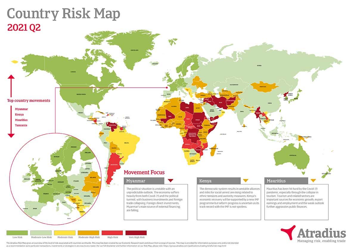 Carte des risques pays Q2 2021