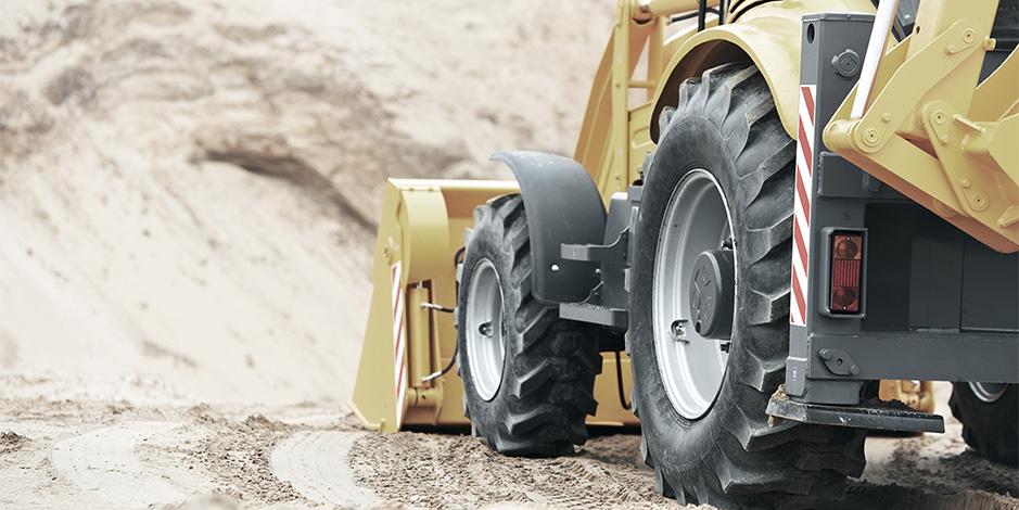 Wheel loader at construction site